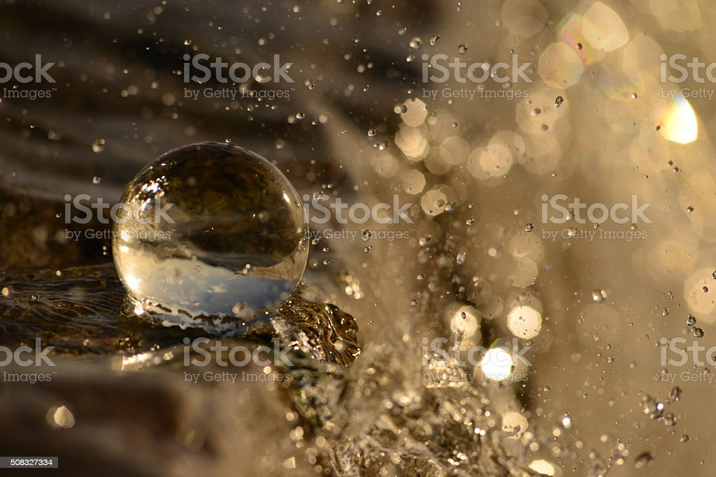 Water ball,abstract in nature,Crystal ball, U.K. stock photo