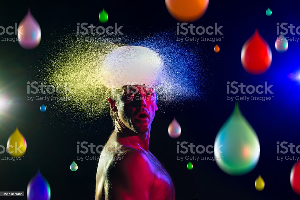 Water Balloon Exploding On A Mans Head stock photo