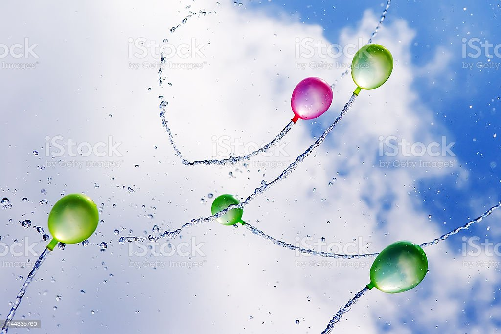 Water Balloons in Flight royalty-free stock photo