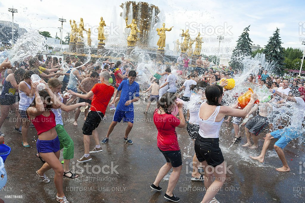 Water Battle flash mob stock photo