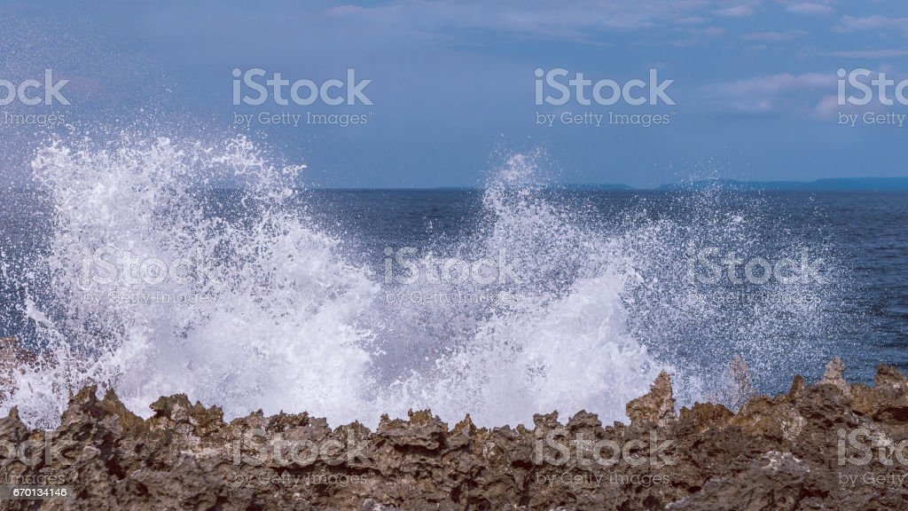 Water Blow on Evening on the Nusa Dua, Bali stock photo