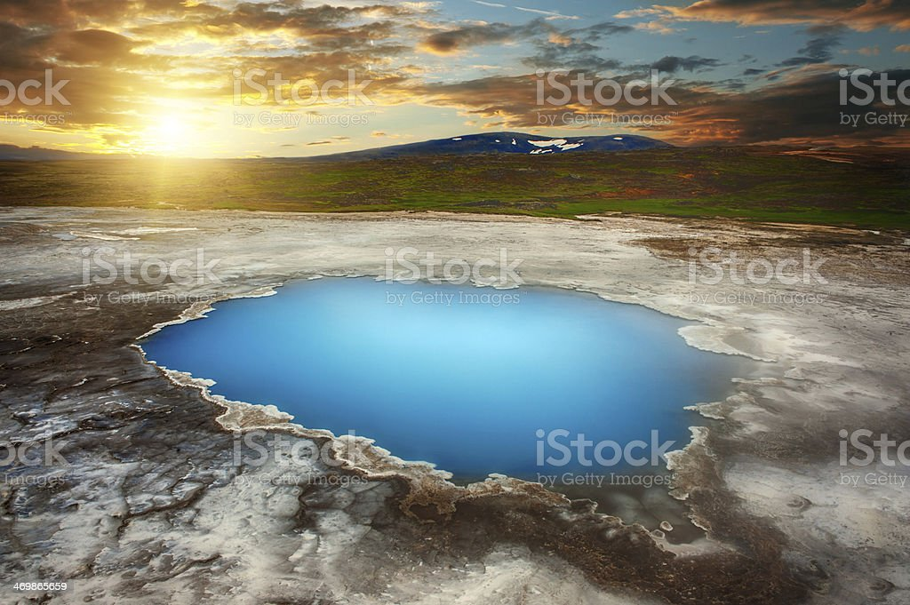 Water body surrounded by land masses stock photo