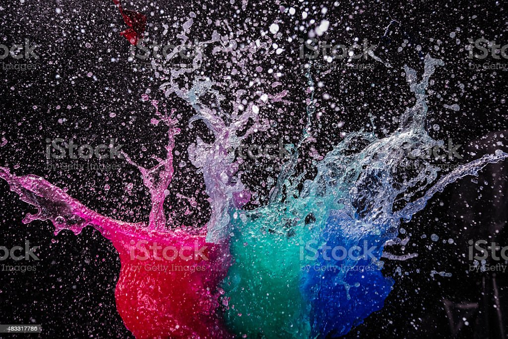 Water bombs bursting stock photo