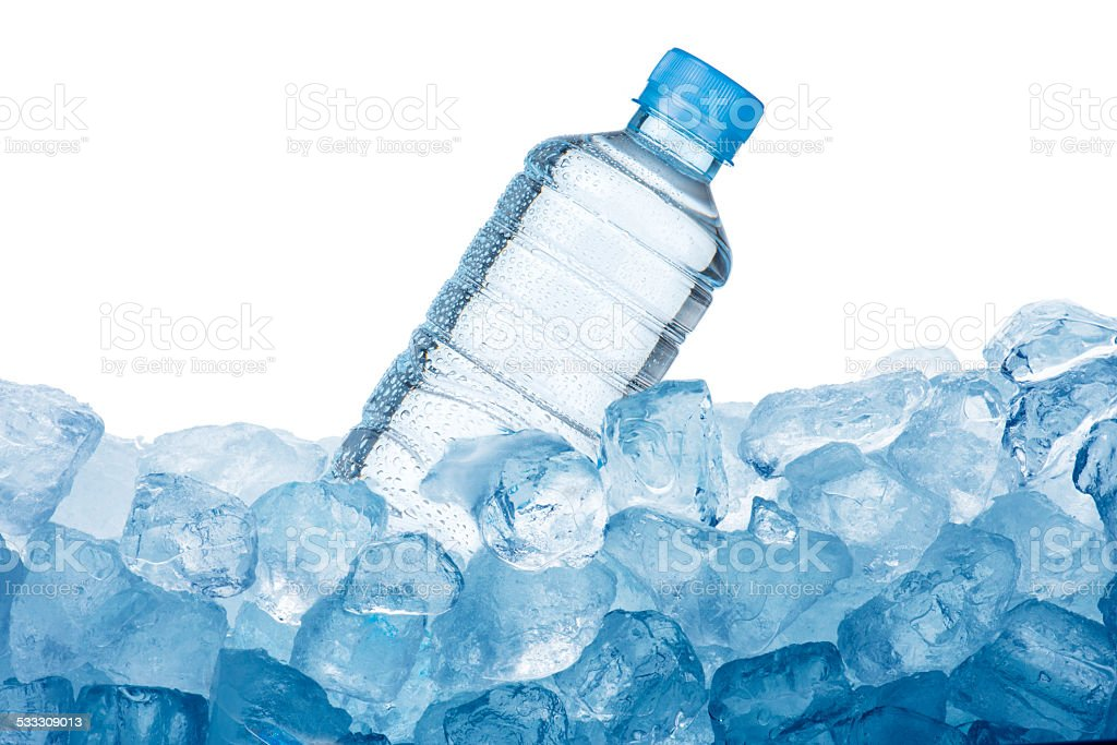 Water Bottle and Ice Cube stock photo