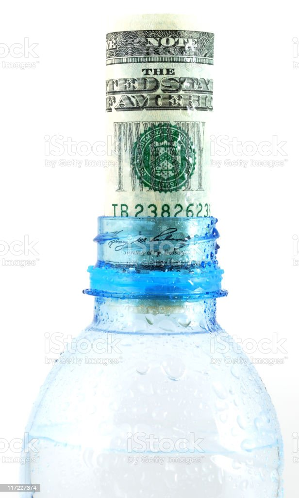 Water bottle and money royalty-free stock photo