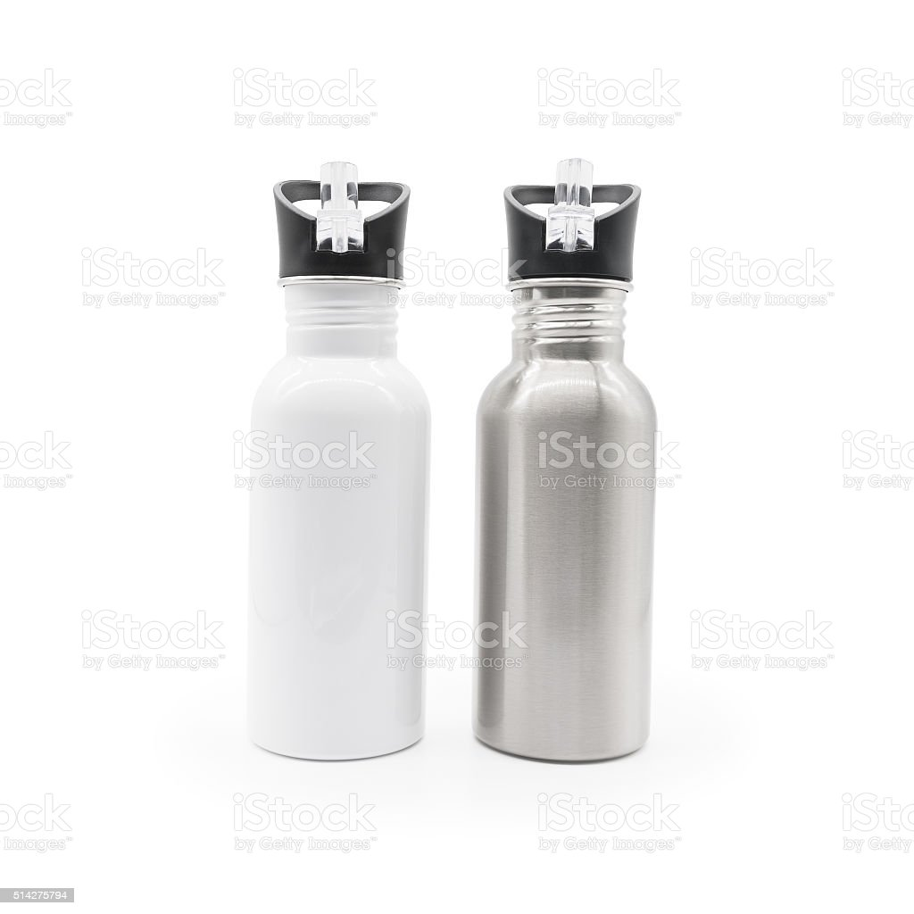 Water bottle. Bottle isolated. Steel bottle. Drink bottle. stock photo