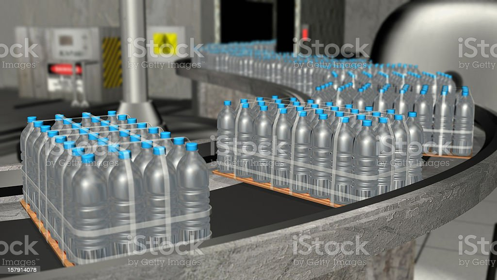 Water Bottle Factory 3D stock photo