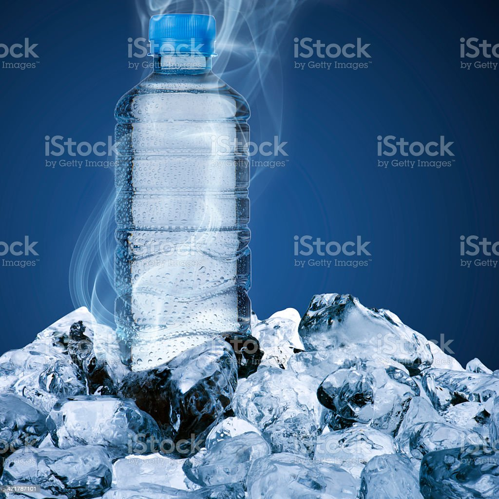 Water bottle on ice cubes royalty-free stock photo