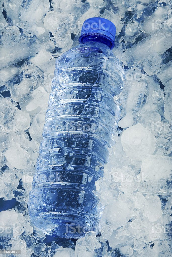 Water bottle on ice royalty-free stock photo