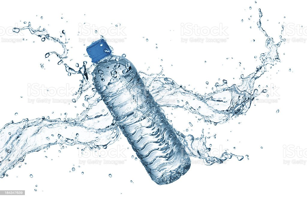 water bottle with splash stock photo