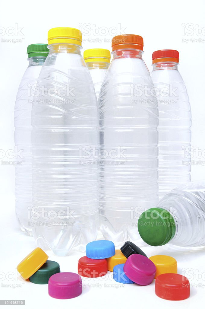 Water bottles and caps stock photo