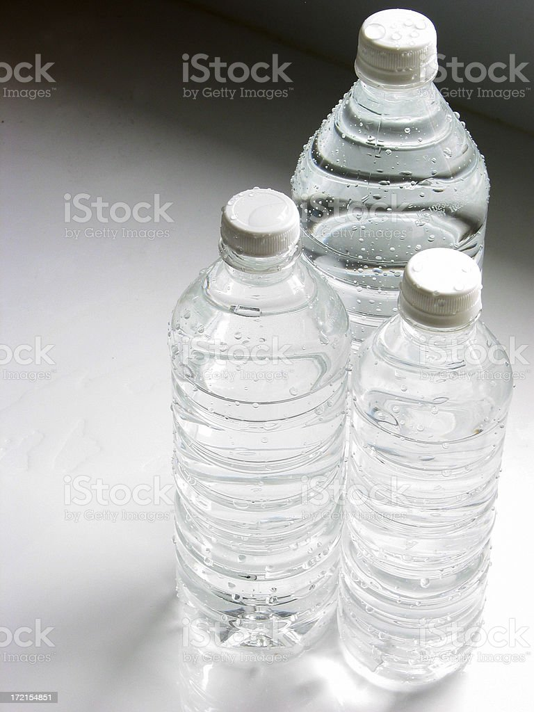 Water Bottles  Large Medium Small stock photo