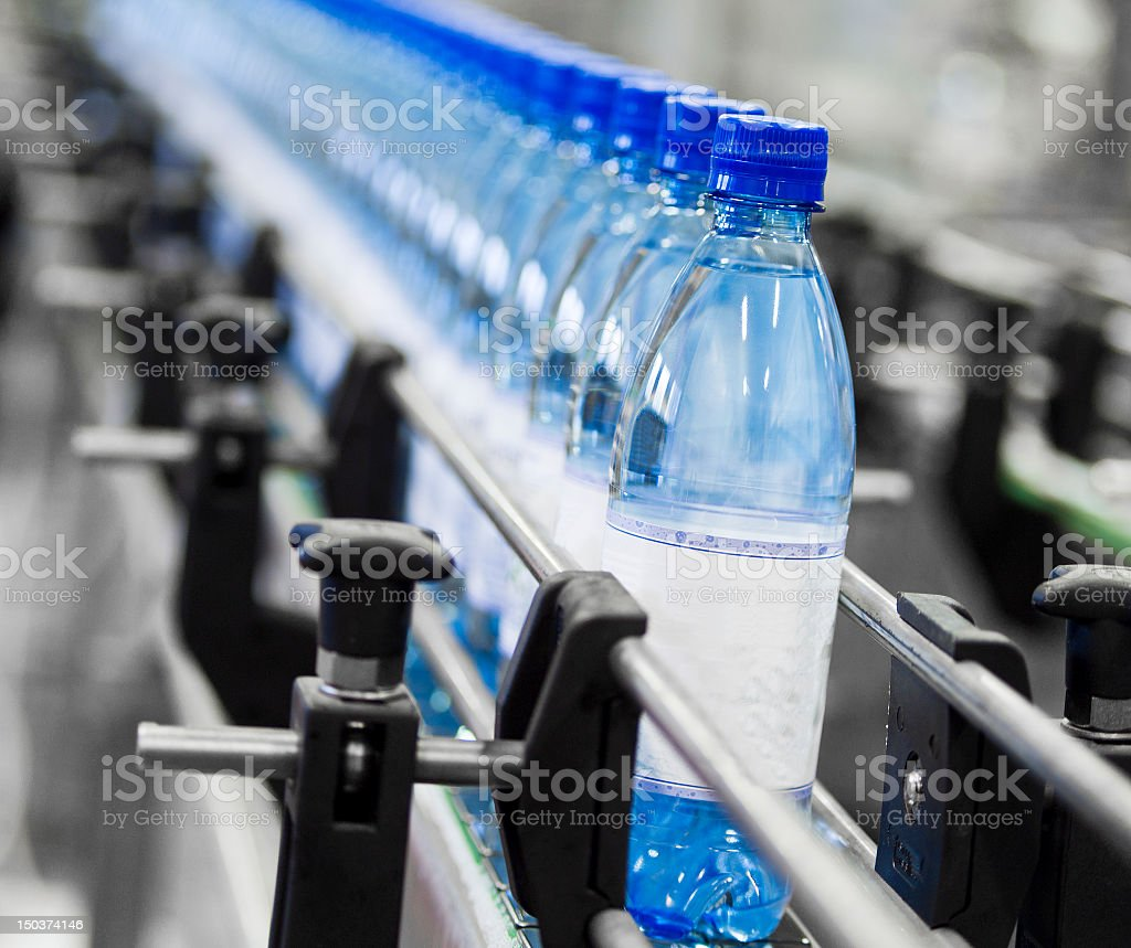Water bottles manufactured in factory stock photo