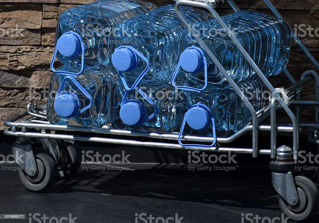 water bottles on a cart stock photo
