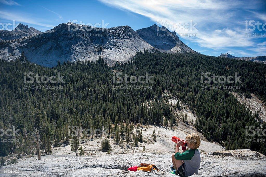 Water break for Child, Yosemite stock photo