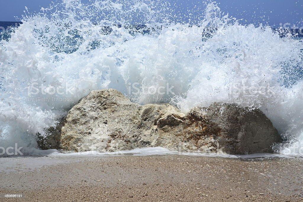 Water broken on the rock stock photo