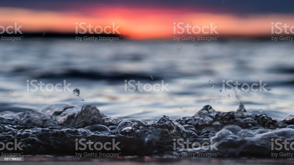 Water bubbles closeup in the midnight in Karjala stock photo