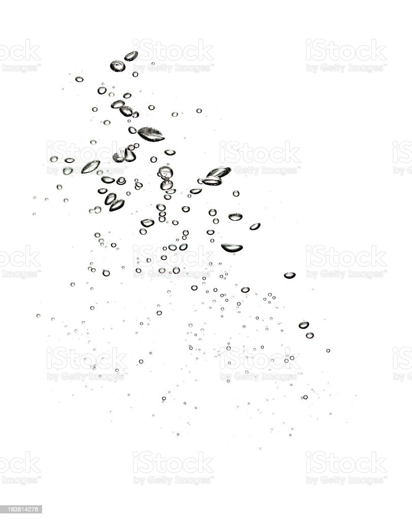 Water bubbles on clear white background stock photo