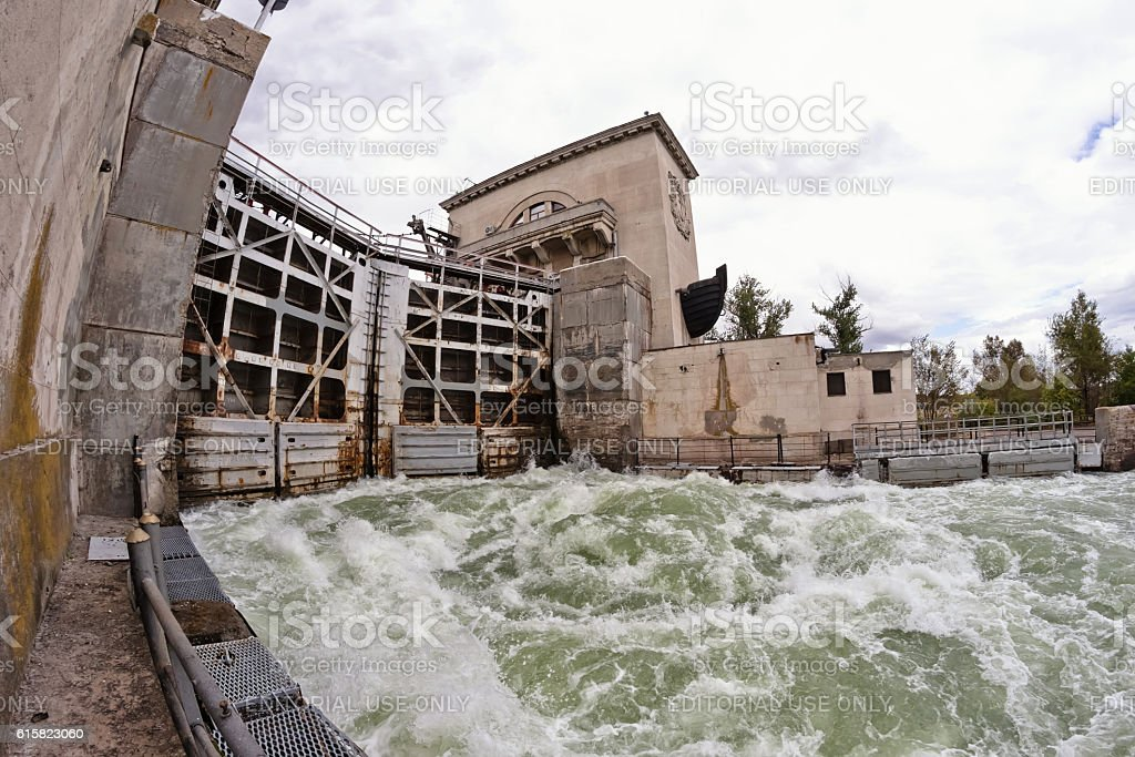 water bubbling at the gate shipping channel stock photo