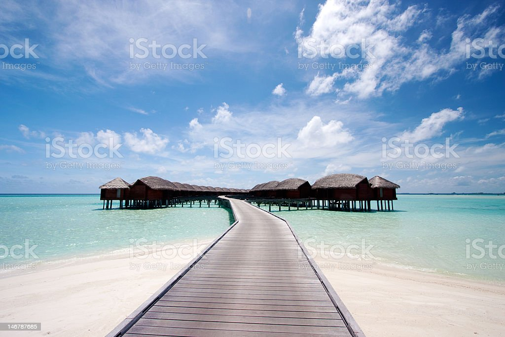 Water bungalows in the tropics royalty-free stock photo