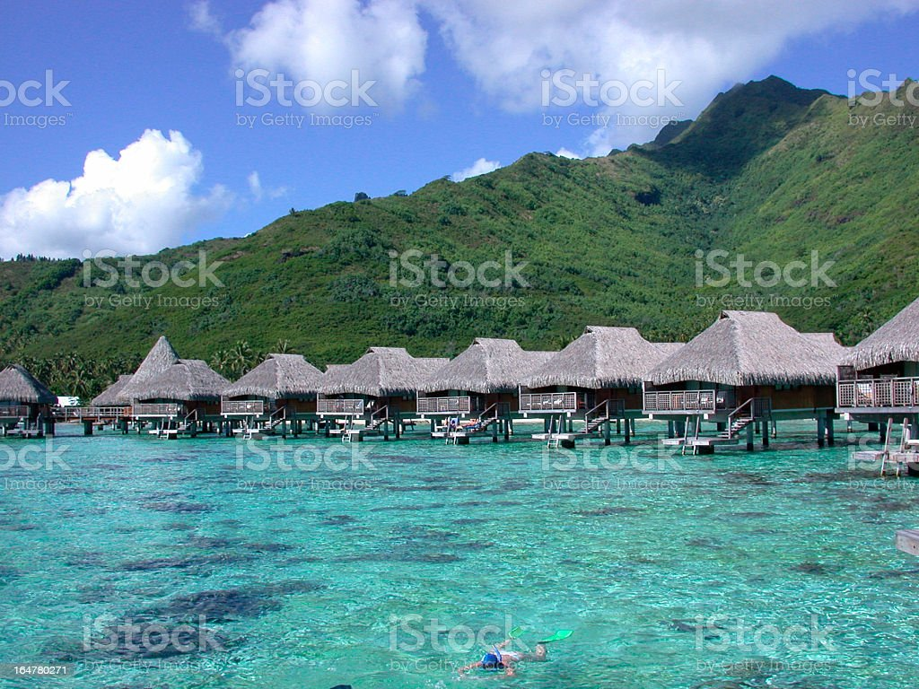 Water bungalows on the tropical island royalty-free stock photo