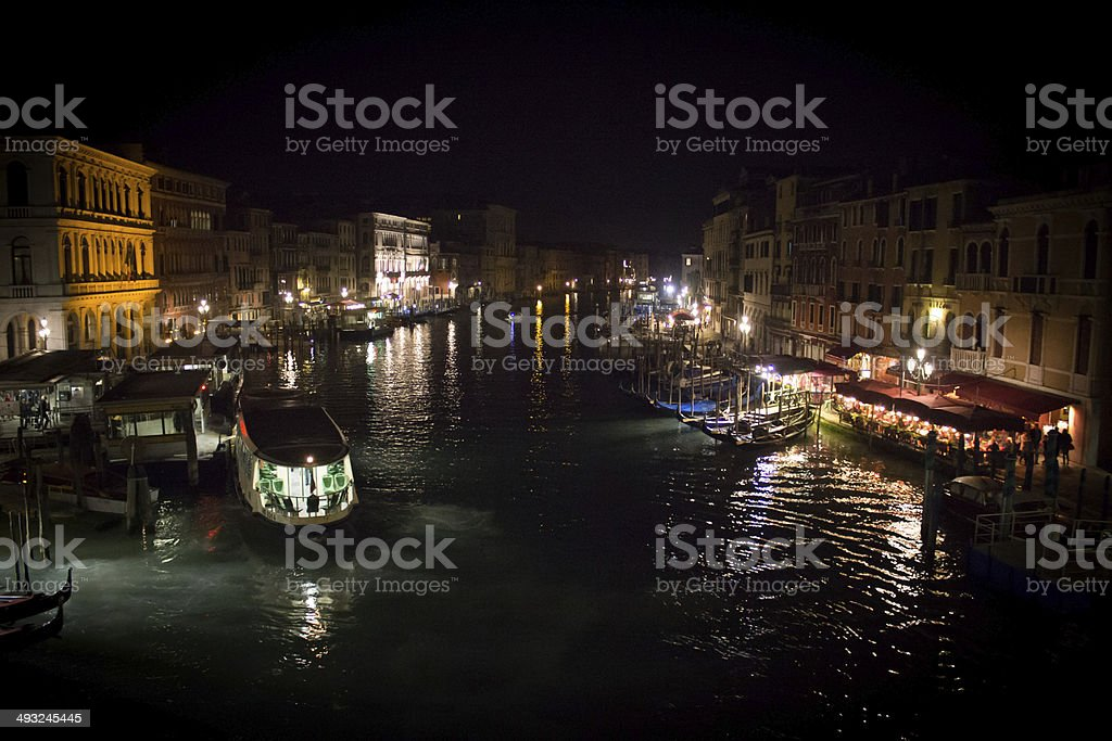 Water Bus and the Grand Canal at Night royalty-free stock photo