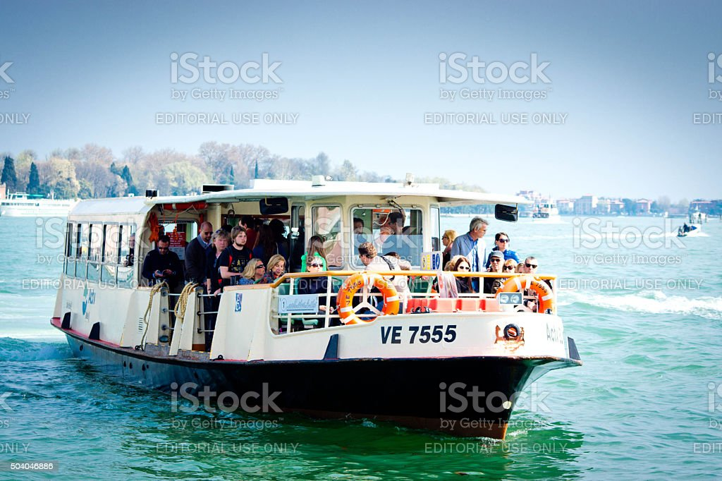 Water bus on Venice Lagoon stock photo