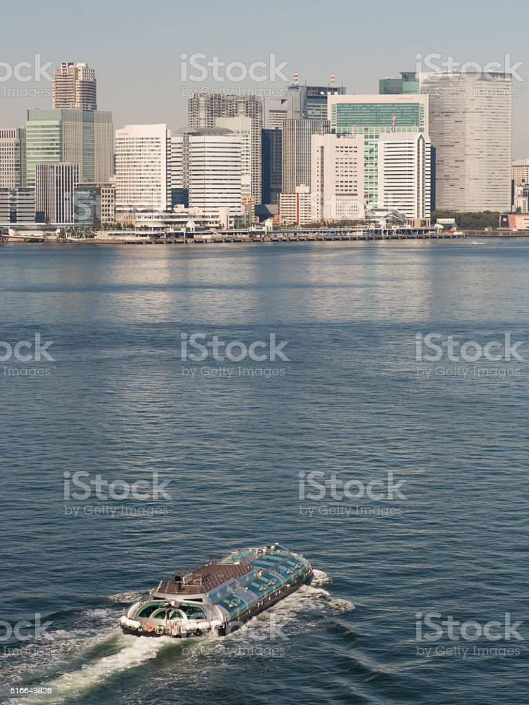 Water bus which runs the Port of Tokyo stock photo