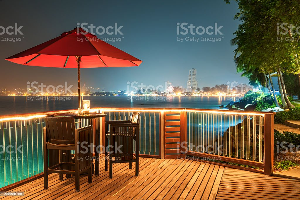 Water cafe bar in night stock photo