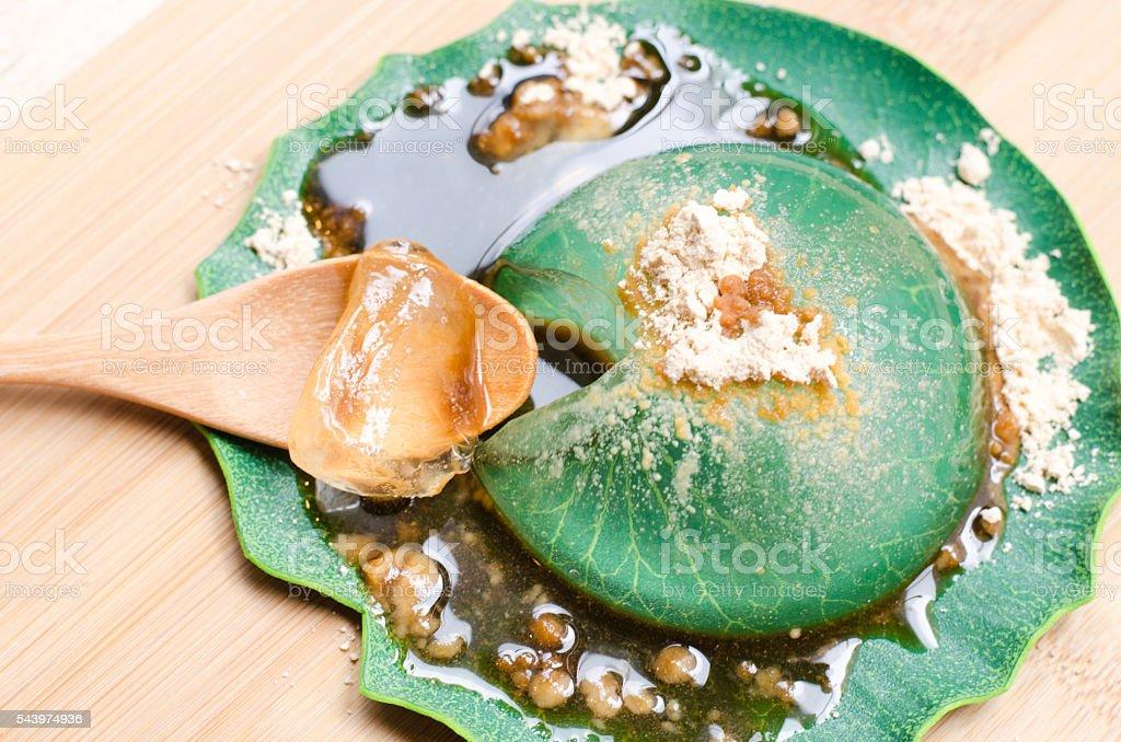 Water cake  dessert mochi 'mizu shingen mochi' stock photo