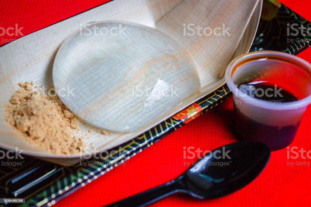 Water cake, Japanese style dessert with decoration, Raindrop Miz stock photo