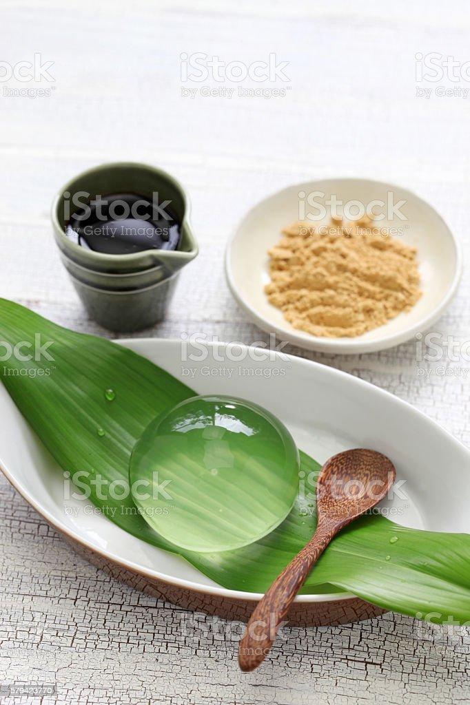 water cake, raindrop cake, mizu shingen mochi stock photo