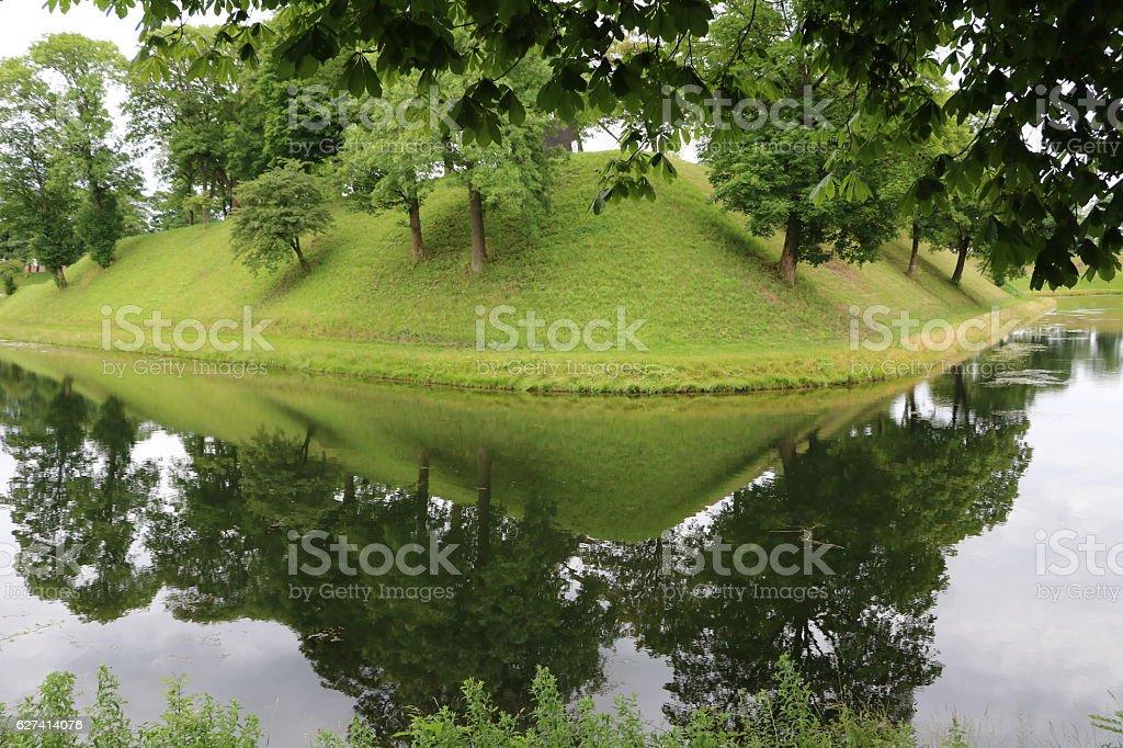 Water canal around Kongens Bastion in Copenhagen, Denmark Scandinavia stock photo