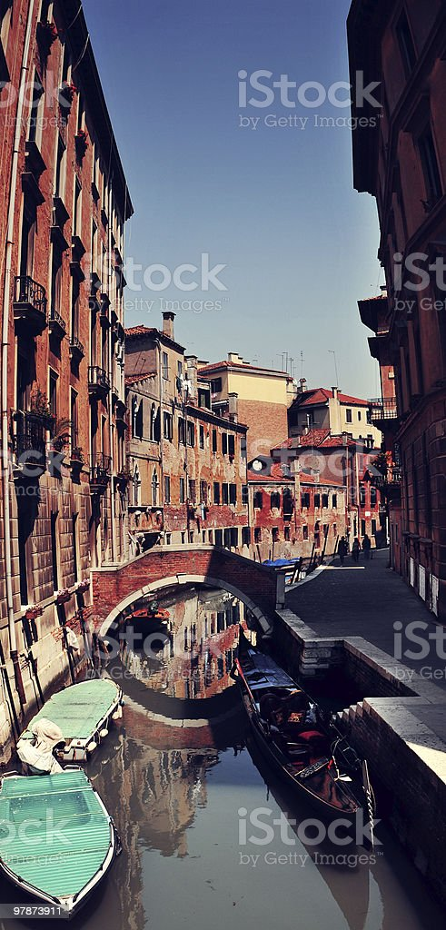 Water canal, bridge and old buildings in Venice, Italy royalty-free stock photo