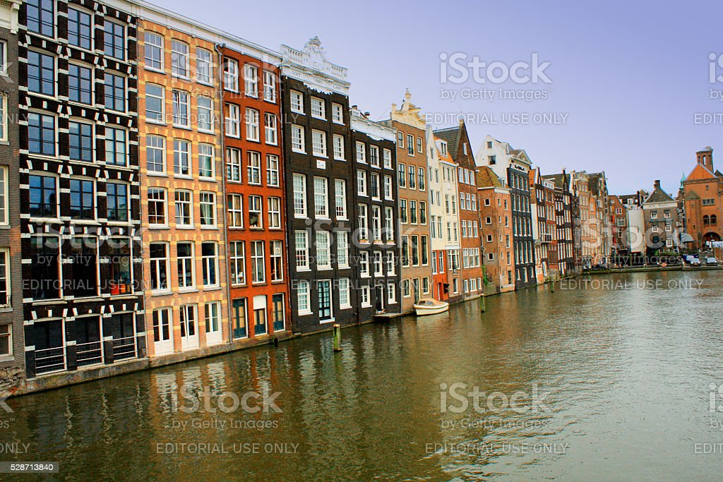 water canals in Amsterdam, Netherlands stock photo