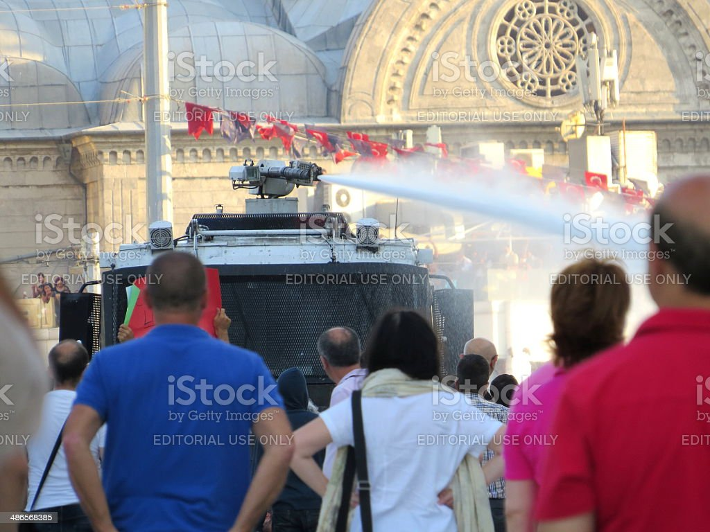 Water Cannon Attack stock photo