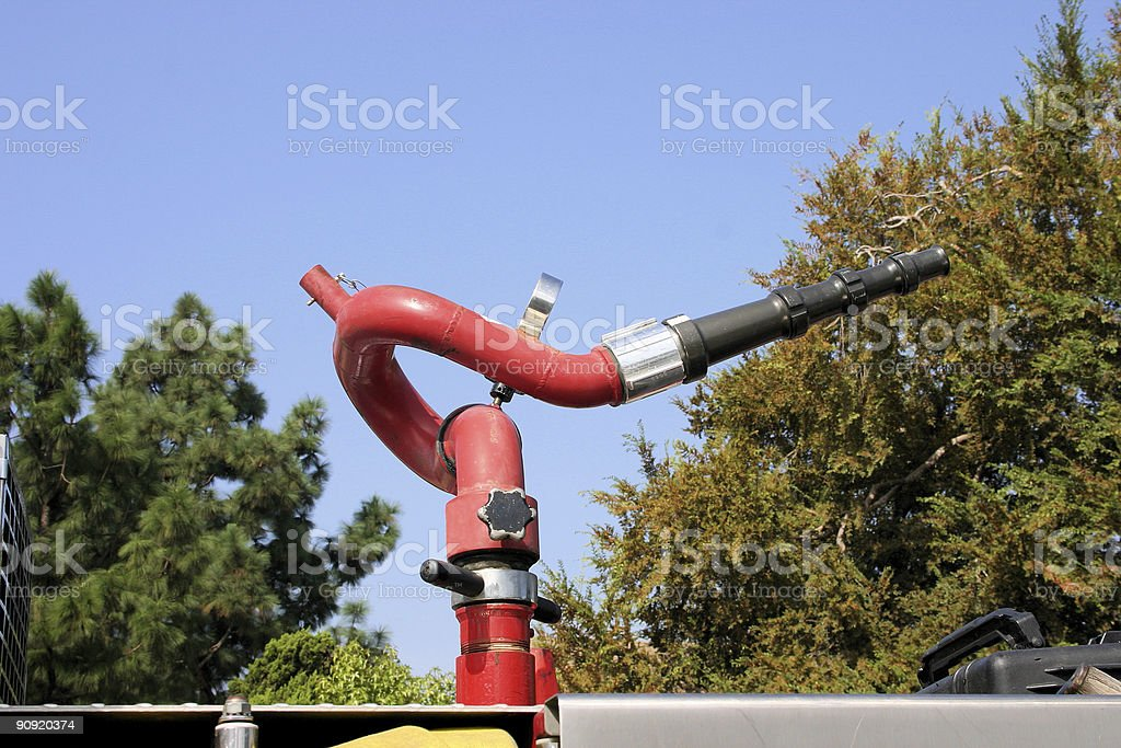Water cannon on fire truck stock photo