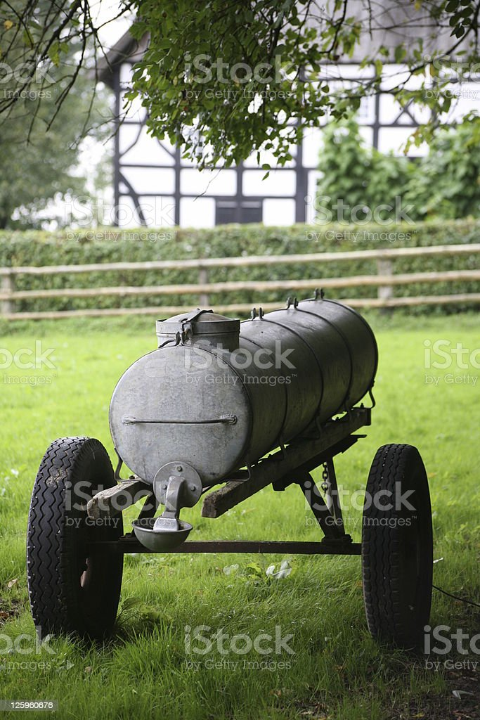 Water car on a pasture stock photo