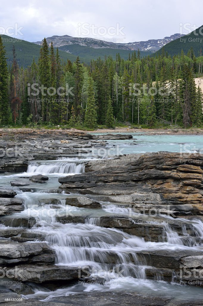 Water Cascade at Athabasca Falls stock photo