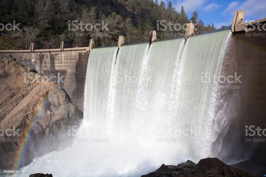 Water Cascading Over Lake Clementine Dam stock photo