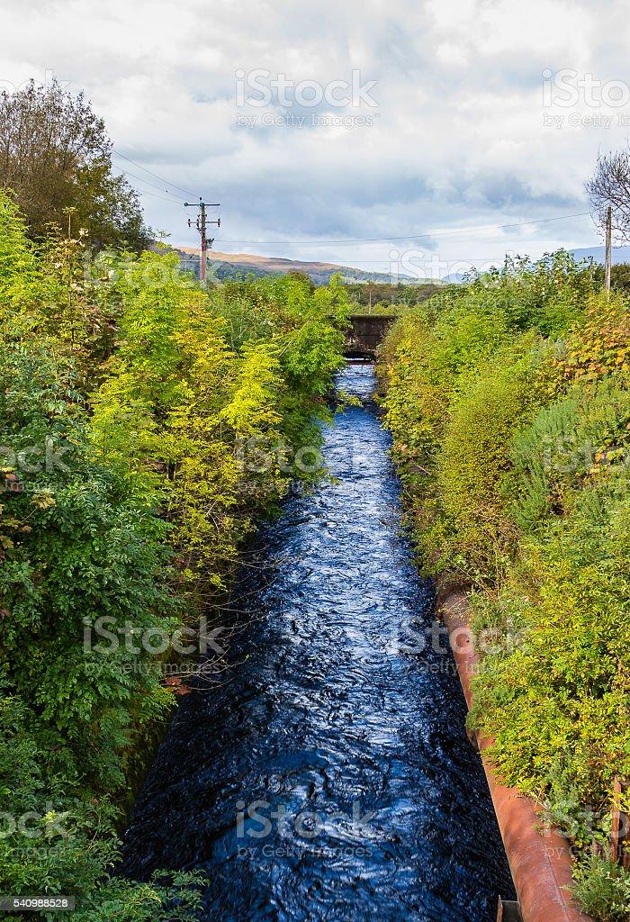 Water channel near Fort William, Scotland stock photo