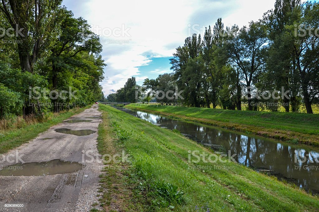 Water channel on countryside stock photo