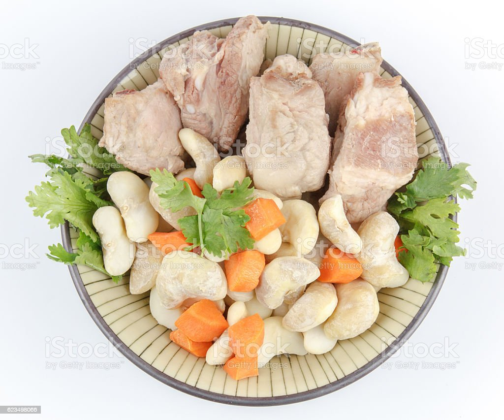 water chestnut and pork stock photo