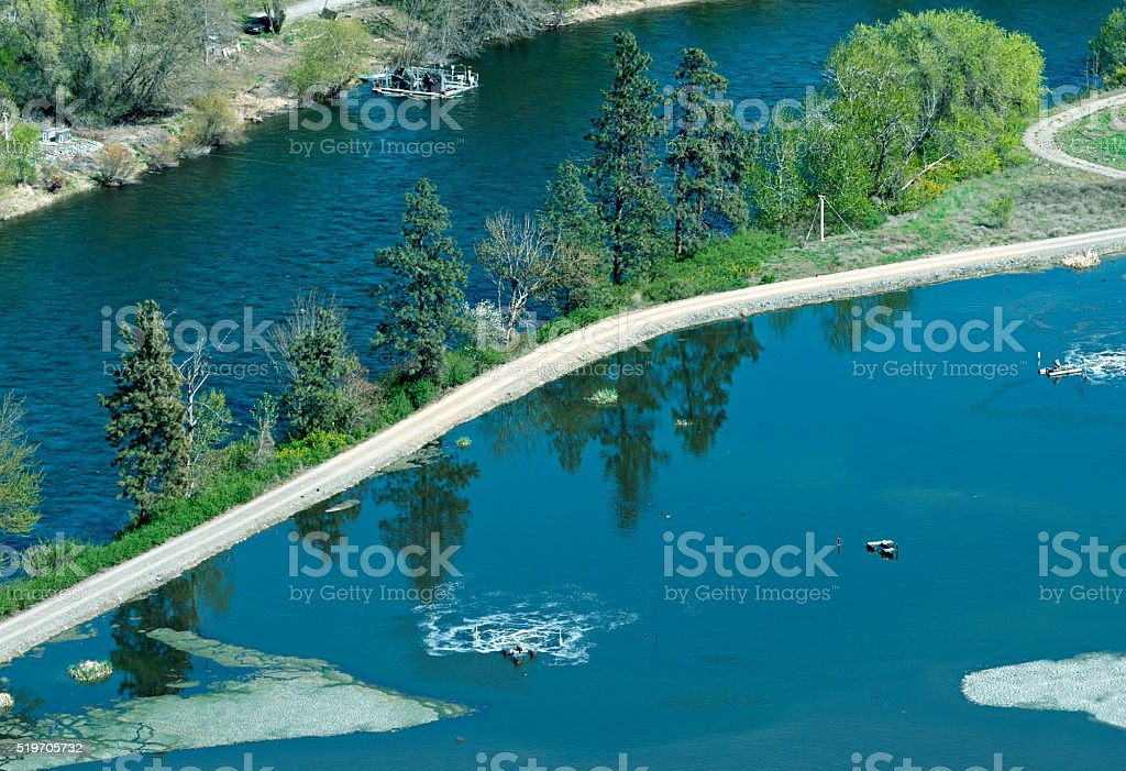 Water cleaning facility next to river in Cashmere WA stock photo