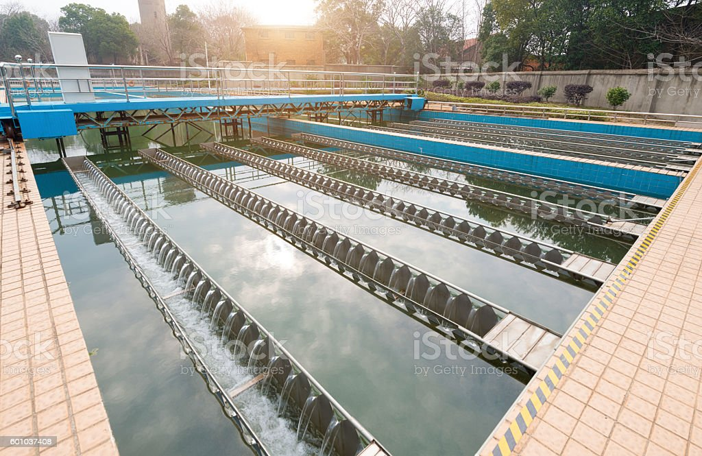 Water cleaning facility outdoors stock photo