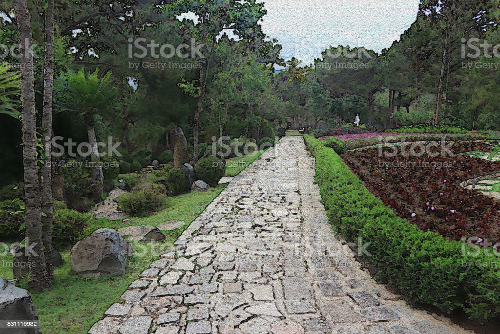 Water color filter gallery,  Beautiful garden concept stock photo