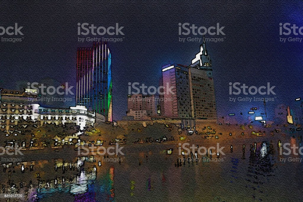 Water color filter gallery,Colorful city in the night time. stock photo
