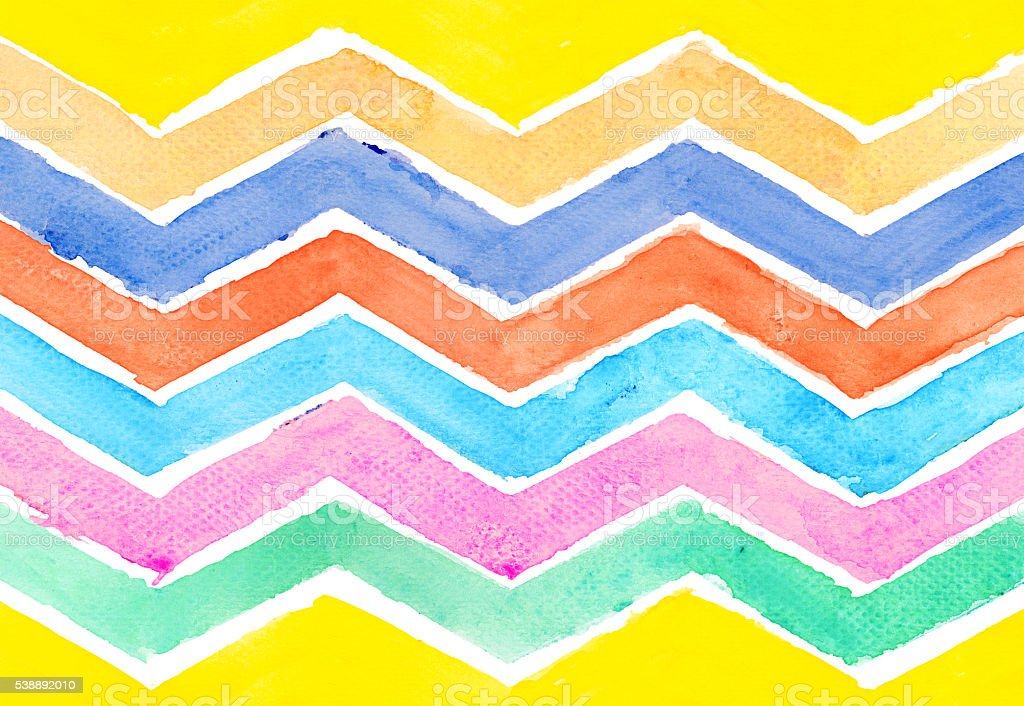 Water color of zigzag line geometry graphic pattern background stock photo