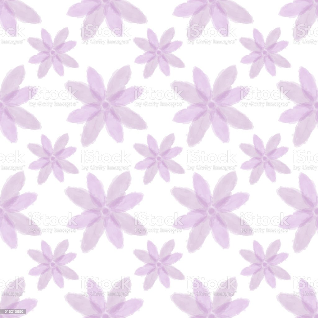 Water color painted pink flower seamless background stock photo