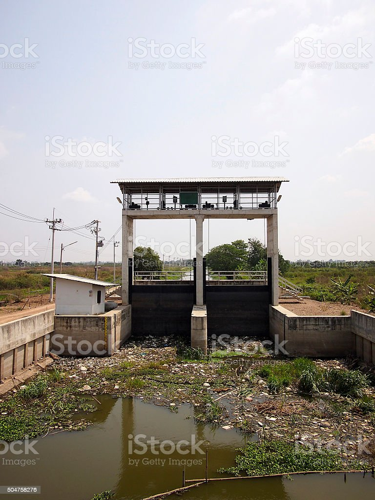 Water control station in countryside,Thailand stock photo